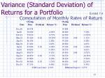 variance standard deviation of returns for a portfolio