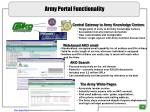 army portal functionality