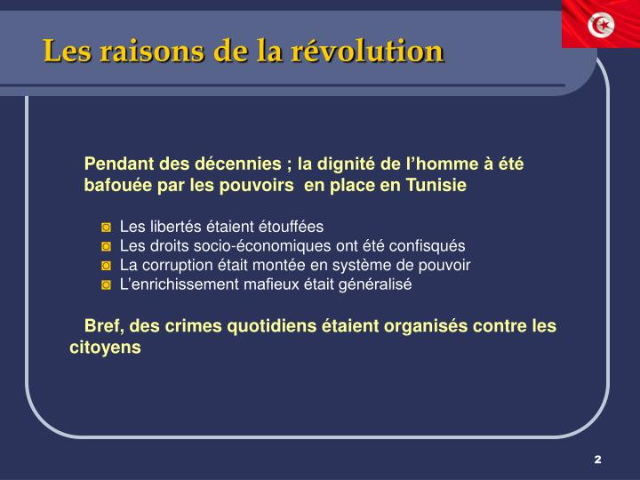 Les raisons de la r volution