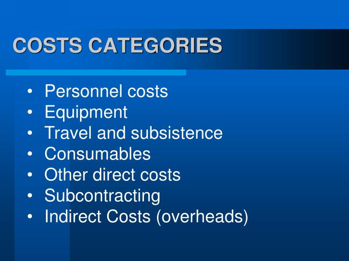 COSTS CATEGORIES