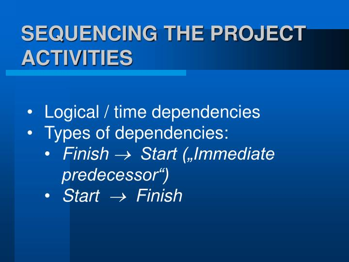 SEQUENCING THE PROJECT ACTIVITIES