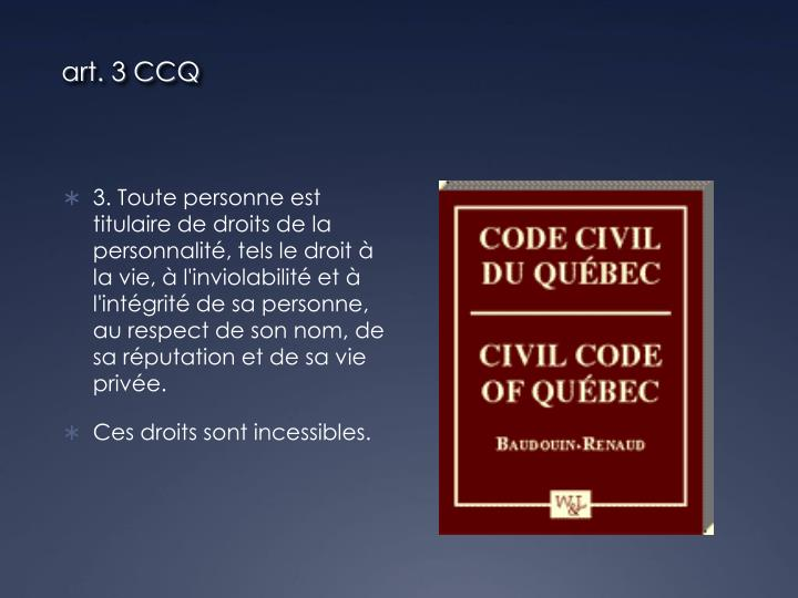 art. 3 CCQ