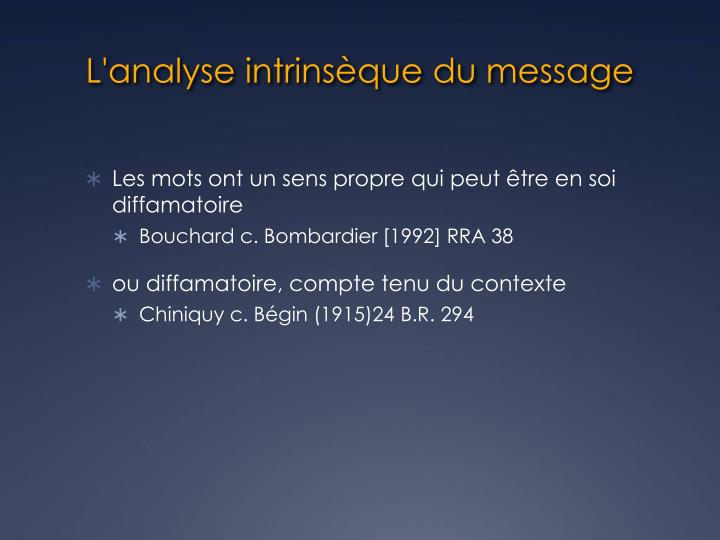 L'analyse intrinsèque du message