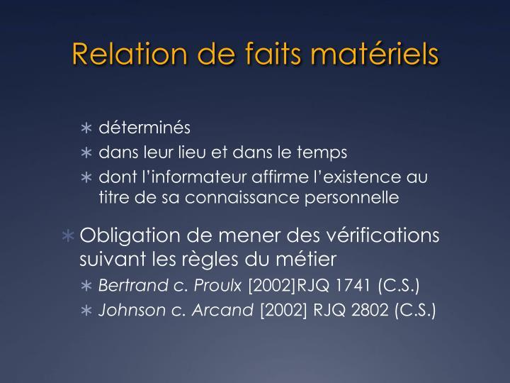 Relation de faits matériels