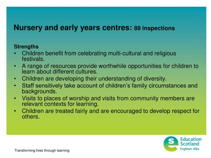 Nursery and early years centres:
