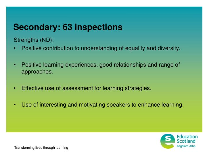Secondary: 63 inspections
