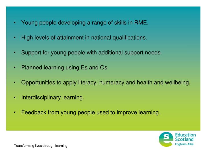 Young people developing a range of skills in RME.