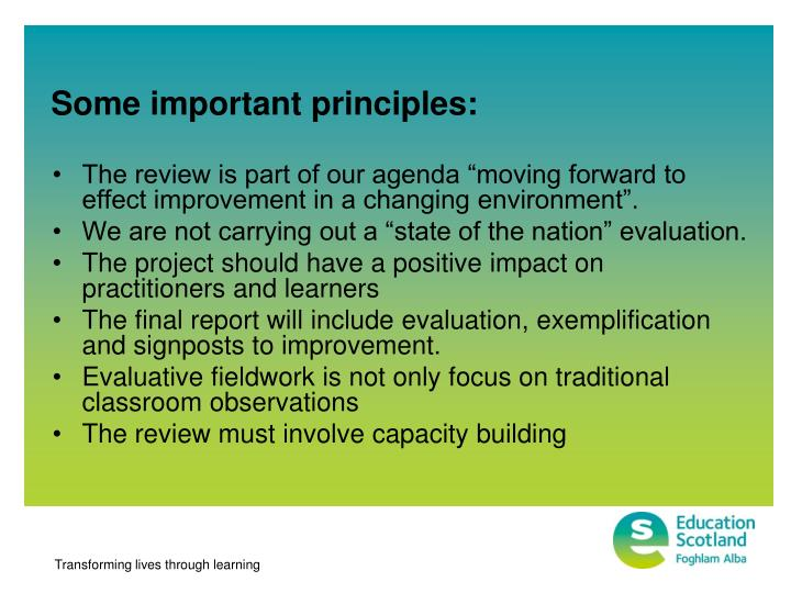 Some important principles: