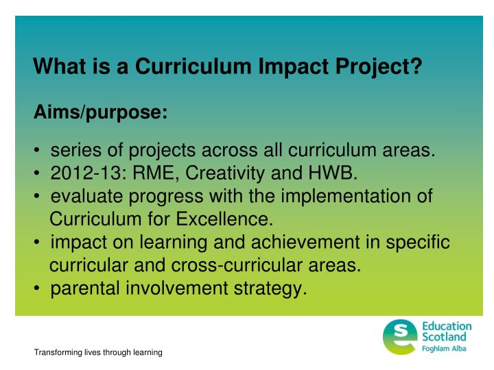 What is a Curriculum Impact Project?