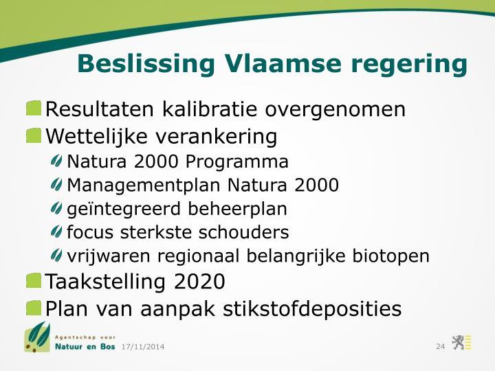 Beslissing Vlaamse regering
