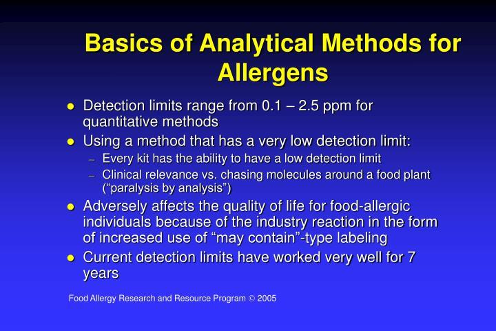 Basics of Analytical Methods for Allergens