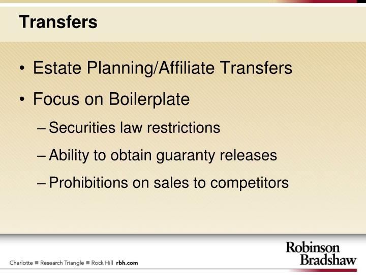 Estate Planning/Affiliate Transfers