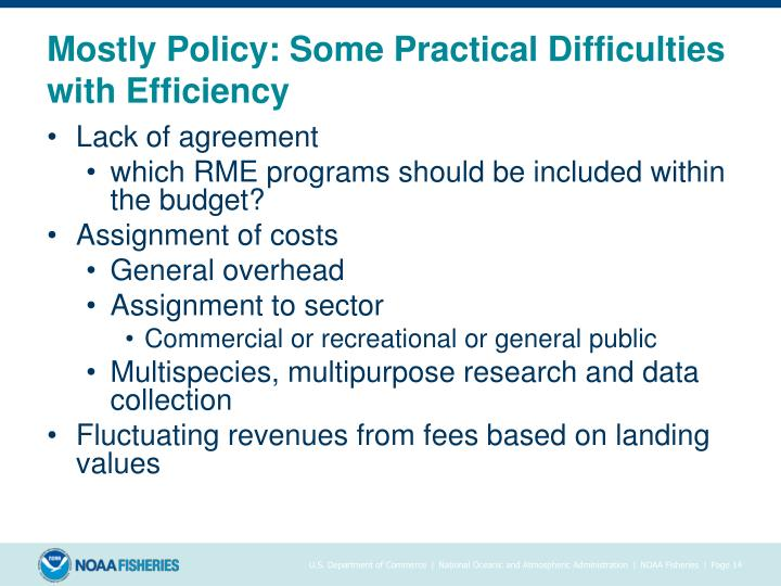 Mostly Policy: Some Practical Difficulties with Efficiency
