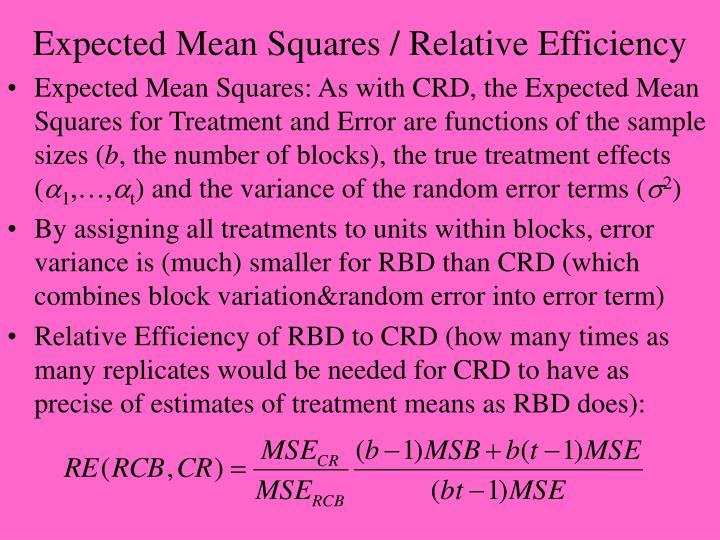Expected Mean Squares / Relative Efficiency