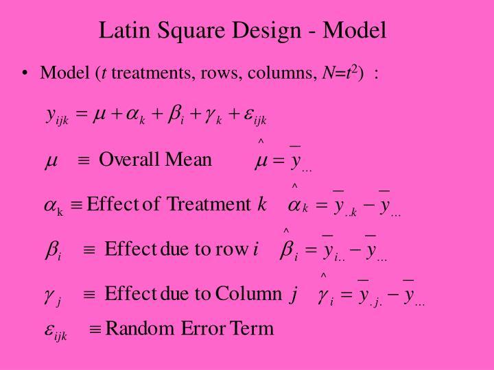 Latin Square Design - Model