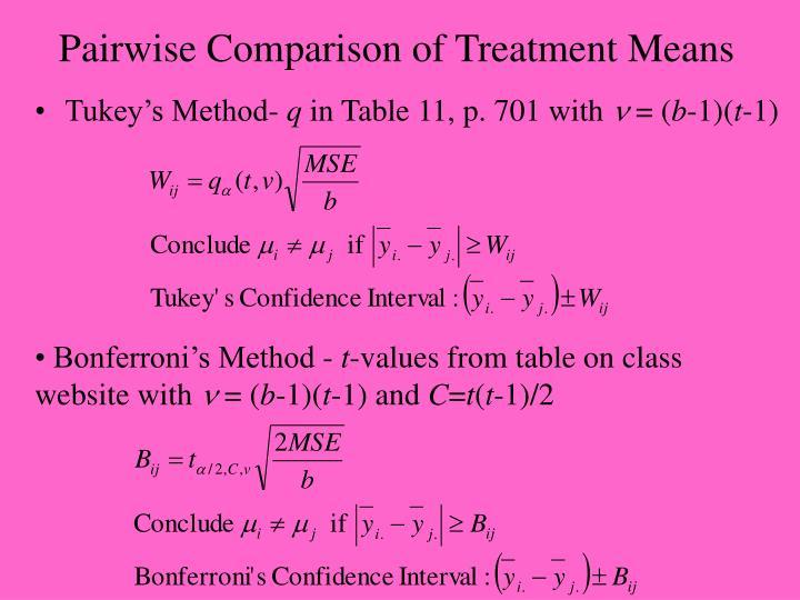 Pairwise Comparison of Treatment Means