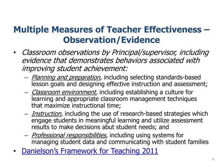 Multiple Measures of Teacher Effectiveness – Observation/Evidence