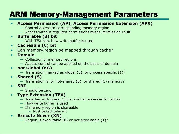 ARM Memory-Management Parameters