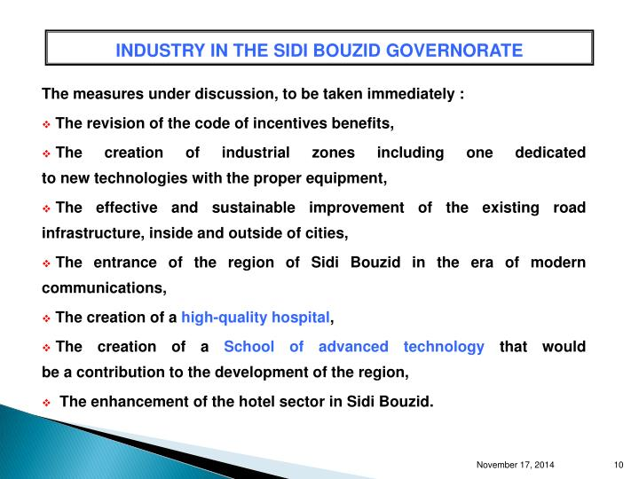 INDUSTRY IN THE SIDI BOUZID GOVERNORATE