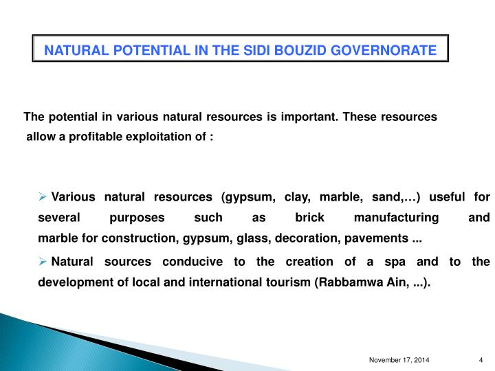 NATURAL POTENTIAL IN THE SIDI BOUZID GOVERNORATE