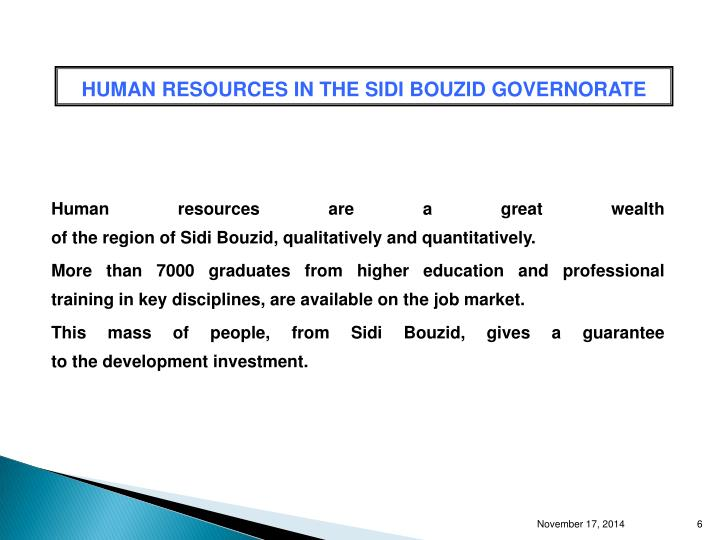 HUMAN RESOURCES IN THE SIDI BOUZID GOVERNORATE
