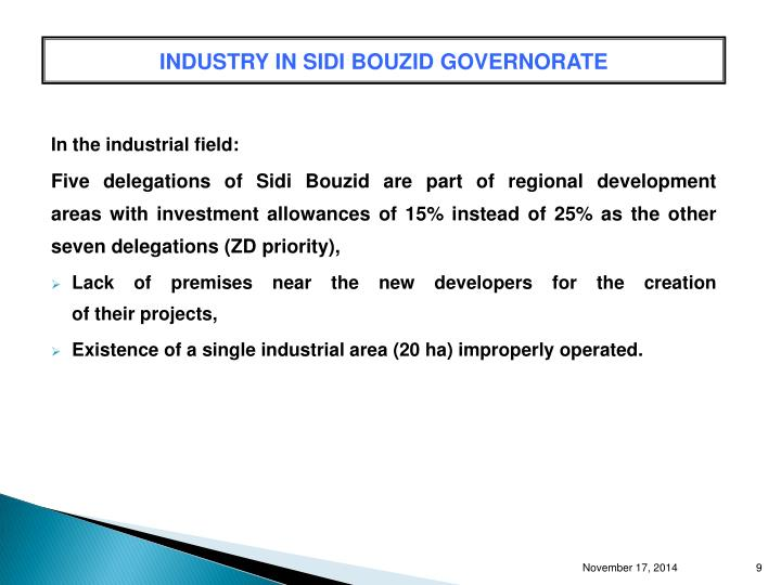 INDUSTRY IN SIDI BOUZID GOVERNORATE