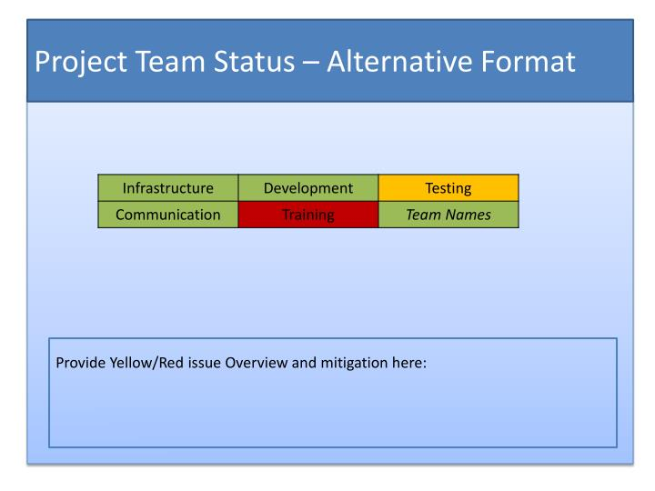 Project Team Status – Alternative Format