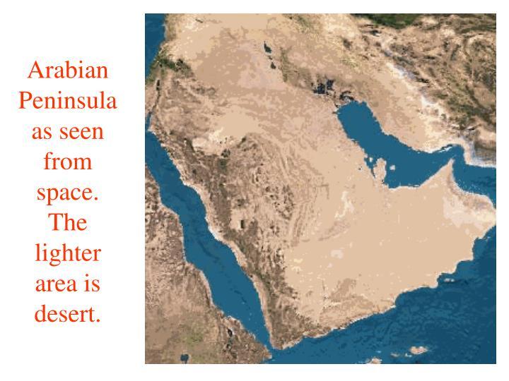 Arabian Peninsula as seen from space.  The lighter area is desert.