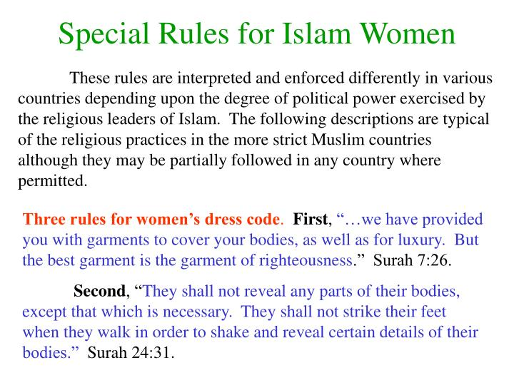 Special Rules for Islam Women