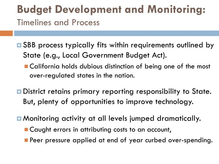 Budget Development and Monitoring: