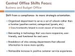 central office shifts focus business and budget office
