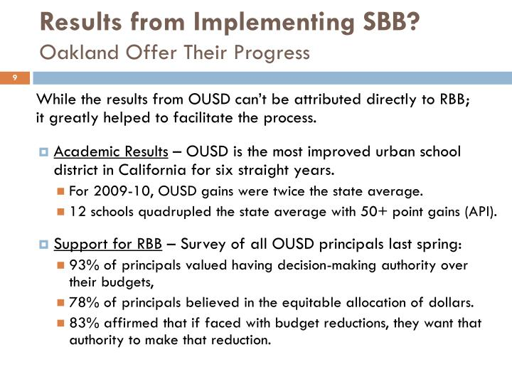 Results from Implementing SBB?