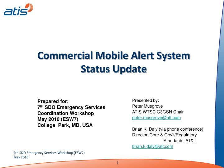 Commercial mobile alert system status update