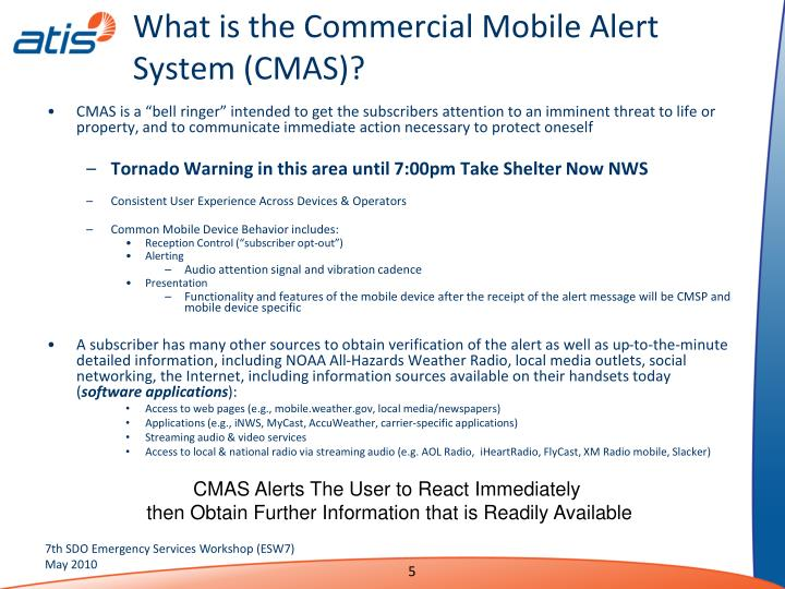 What is the Commercial Mobile Alert System (CMAS)?