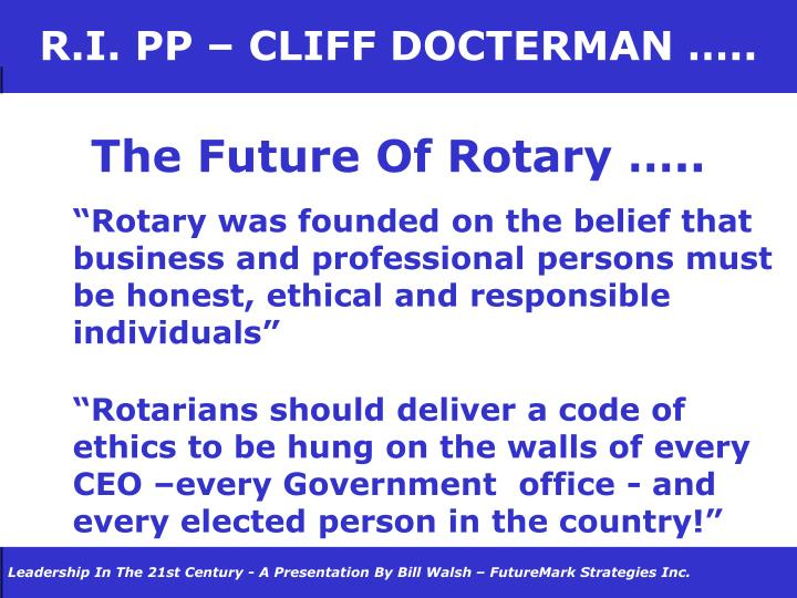 R.I. PP – CLIFF DOCTERMAN …..