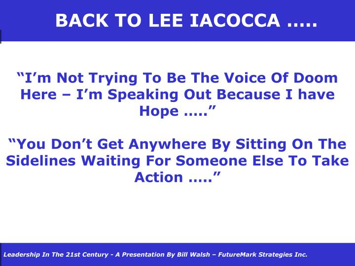 BACK TO LEE IACOCCA …..