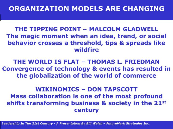 ORGANIZATION MODELS ARE CHANGING