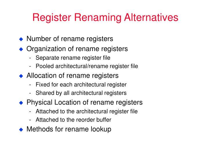 Register Renaming Alternatives