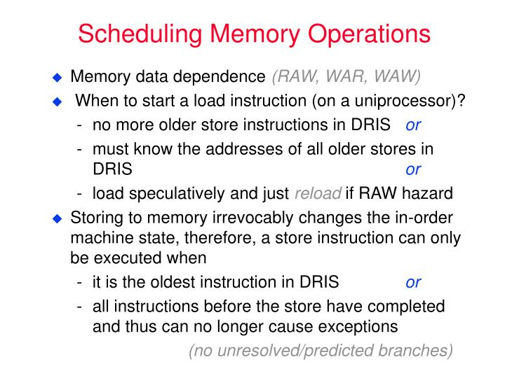 Scheduling Memory Operations