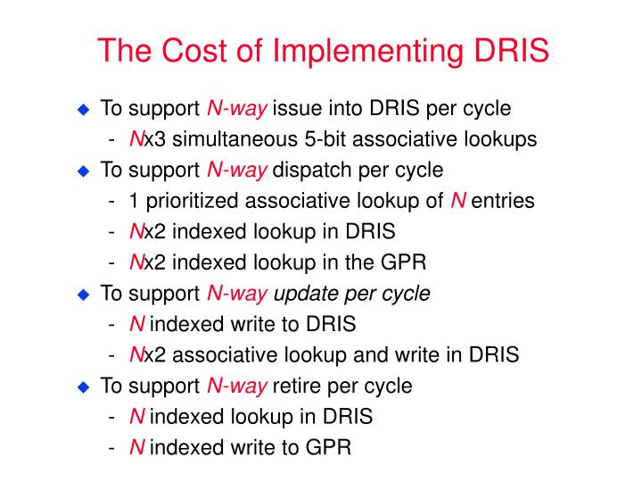 The Cost of Implementing DRIS