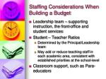 staffing considerations when building a budget