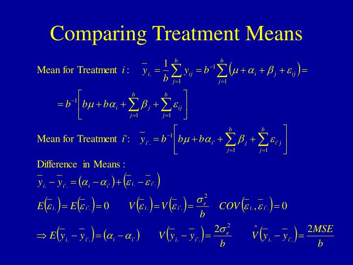 Comparing Treatment Means