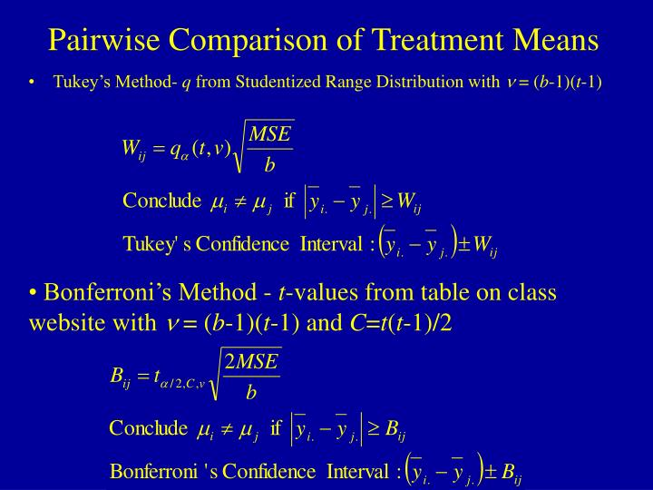 Pairwise Comparison of Treatment Means