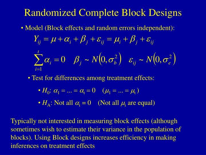 Randomized Complete Block Designs