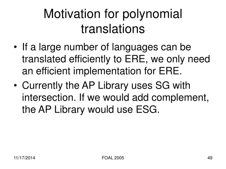 Motivation for polynomial translations