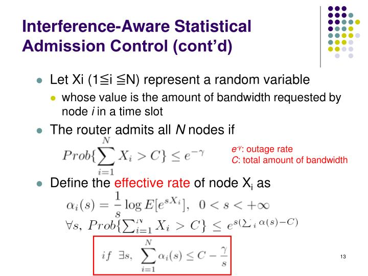 Interference-Aware Statistical Admission Control (cont'd)