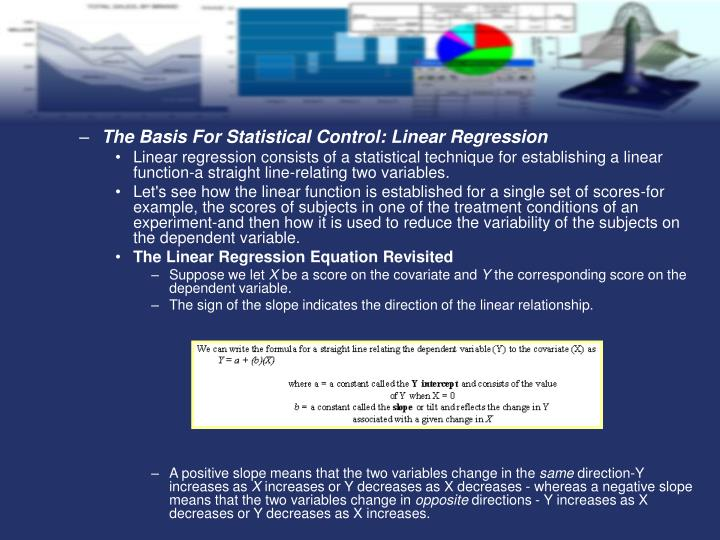The Basis For Statistical Control: Linear Regression