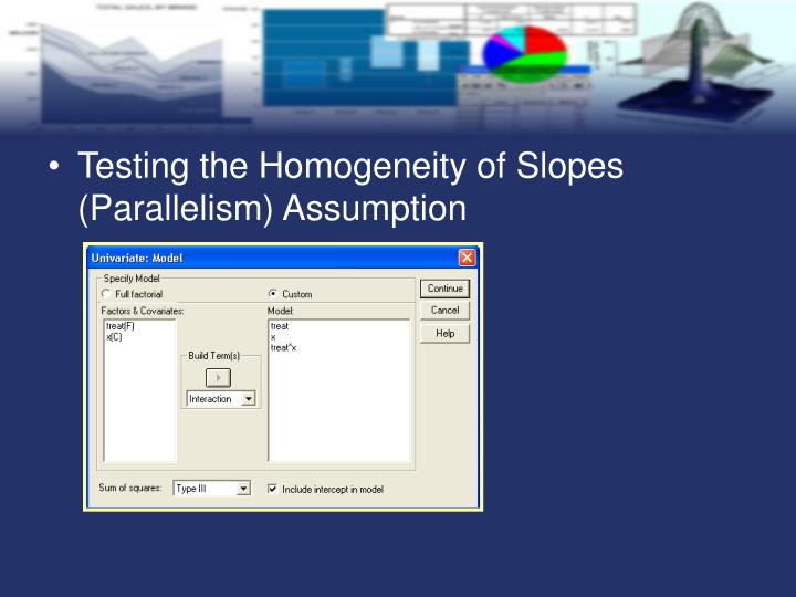 Testing the Homogeneity of Slopes (Parallelism) Assumption