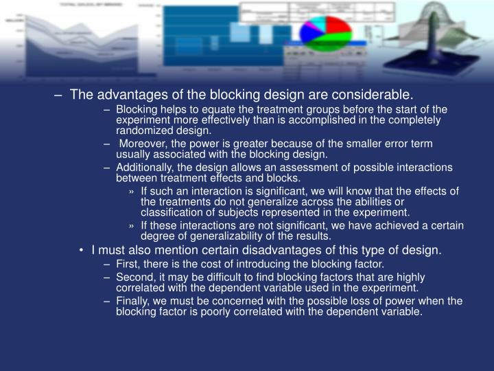 The advantages of the blocking design are considerable.