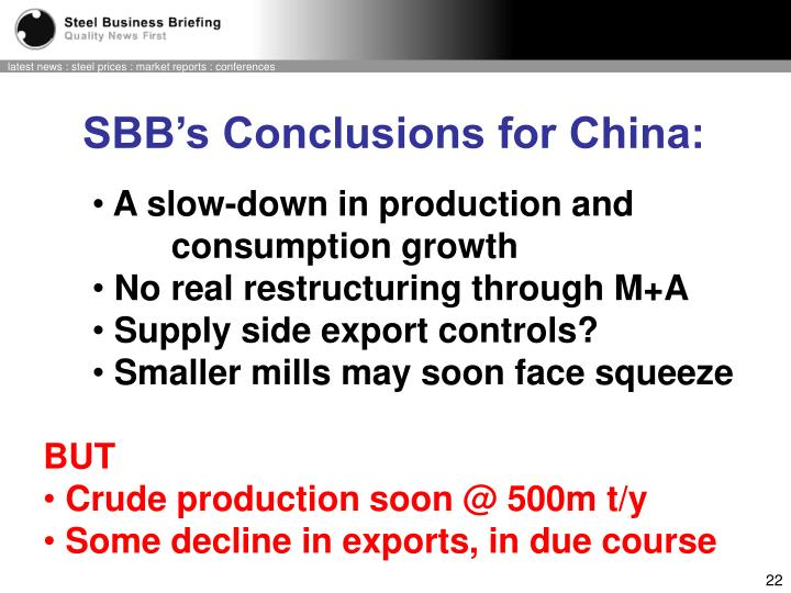 SBB's Conclusions for China: